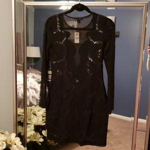 Express Black Sequin & Lace Cocktail Dress